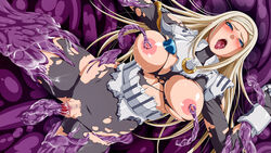 areolae armor blonde_hair blue_eyes blush breasts breasts_outside censored female highres inja_no_kuruwa large_breasts legs long_hair looking_at_viewer monster mosaic_censoring nipple_tweak nipples no_panties open_mouth pussy rape saliva solo spread_legs sweat tentacle thighs tongue tongue_out torn_clothes vaginal_insertion