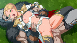 areolae armor blonde_hair blood blush breasts cape censored crying female grass green_eyes hands_on_hips highres inja_no_kuruwa legs looking_away lying lying_on_person mosaic_censoring navel nipples no_panties open_mouth penis pussy rape sex small_breasts sweat tears testicles thighhighs thighs twin_braids vaginal_penetration virgin