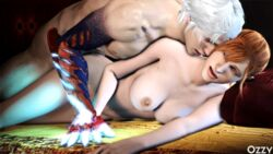 1boy 3d animated animated bed breasts devil_may_cry devil_may_cry_4 female holding_hand kyrie moaning nero_(devil_may_cry) nude orange_hair sex silver_hair spooning