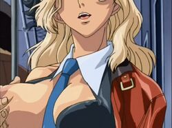 1boy animated animated blonde_hair bouncing_breasts breasts breasts_grab female female gloves itazura_the_animation large_breasts nipples no_bra open_shirt orgasm screencap smile straight