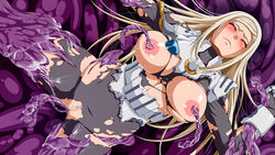 areolae armor blonde_hair blush breasts breasts_outside censored closed_eyes female highres inja_no_kuruwa large_breasts legs long_hair monster mosaic_censoring nipple_tweak nipples no_panties pussy rape solo spread_legs sweat tentacle thighs torn_clothes