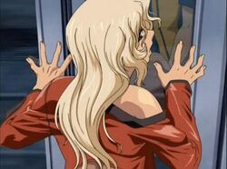 1boy animated animated ass ass_grab blonde_hair breasts female female gloves itazura_the_animation large_breasts looking_back night no_panties penis screencap straight train