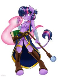 2015 ambris anthro anthrofied book breasts clothed clothing equine female friendship_is_magic fur furry furry_only hair horn mammal my_little_pony nipples plain_background purple_eyes purple_fur purple_hair pussy solo staff twilight_sparkle_(mlp) unicorn white_background