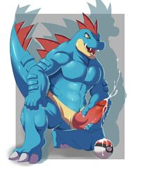 anthro big_penis blue_skin cum cumshot erection feraligatr fin glans kneeling knot male masturbation muscles nintendo nude nuroi open_mouth orgasm penis pokéball pokemon solo teeth video_games yellow_eyes