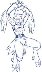 anthro armor belt big_paws blush breasts claws digimon fangs feathers female hair helmet long_ears mesozoid monochrome nipples obstructed_eyes panting plain_background silphymon sketch solo toe_claws visor wings
