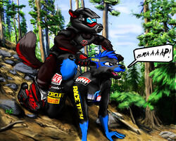 bike canine canine couple dirt dont female forest halon humor hunting jackal love male male/female mammal mate mates mohawk motorcycle piercing please riding sammichez silly style thehuntingwolf tree wolf wounded