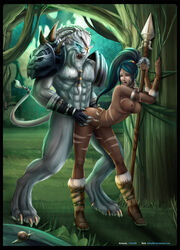 against_wall armor ass big_breasts black_hair blue_eyes breasts canine clothed clothing female fur furry furry_tail green_eyes hair happy horny human insertion interspecies league_of_legends long_hair male mammal nidalee nipples nude open_mouth penetration ponytail rengar sex shy smile straight text tongue video_games white_fur wolf yellow_eyes