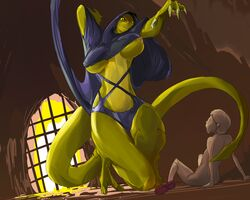 big_breasts breasts claws clothing female hood human imminent_rape larger_female lizard male mammal nipple_slip nipples nude reptile scalie size_difference smaller_male wisper02 yellow_eyes