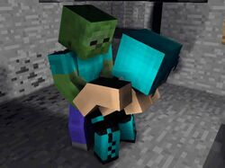 animated big_breasts blue_eyes blue_hair breasts clothed clothing female green_skin hair huge_breasts human intersex intersex/female male male/female mammal minecraft nude undead video_games zombie