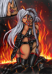 2girls armbinder ass bondage breasts dark_skin doggy_style facial_mark fire forehead_mark french_kiss goddess hild incest large_breasts long_hair looking_back milf mother_and_daughter multiple_girls oh_my_goddess! restraints rope saliva smile tied_up tongue_out urd very_long_hair white_hair