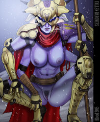 abs blue_eyes blue_skin breasts destiny destiny_(game) fallen fallen_baroness four_arms pussy