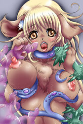 bakugatou blonde_hair brown_eyes brown_fur canine canine female fur hair kemono mammal open_mouth tentacle tentacle_sex tongue