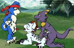 all_fours anal anal_sex balls cum digimon doggy_style from_behind gaomon gomamon iansoulfox liam male male/male monodramon penetration penis sex urine watersports
