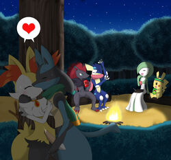 blush braixen campfire fan_character female fingering fiona gardevoir greninja hand_on_chest hand_on_face heart hug kissing kris lucario male masturbation necklace night nintendo outside penis pikachu pokemon pokeporn precum riky scarf sparx straight sweatband veran vergil winick-lim zoroark