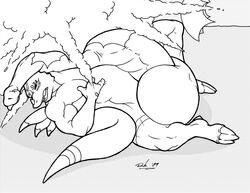 anthro black_and_white comic digimon dragon dragoneer drakemohkami growth inflation male masturbation monochrome nintendo orgasim penis_growth pokemon popping video_games