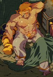 2015 abs animal_humanoid balls bed biceps blush breath_of_fire clothed clothing cray erection fur hair half-dressed kourney male mammal muscles nipples on_bed penis solo video_games woren