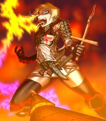 armor blonde_hair blue_eyes boro crazy cross drifters female fire gloves joan_of_arc knife open_clothes small_breasts smile spread_legs stockings weapons