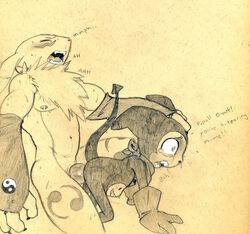 abs all_fours anal anal_sex anthro balls bandana blush canine chest_tuft closed_eyes clothing dialogue digimon doggy_style english_text forced fox from_behind fur furry_only gloves imminent_knotting imp impmon kneeling knot male male/male mammal monochrome nipples open_mouth pain pencil_(artwork) penetration renamon rule_63 sex size_difference stomach_bulge straining sweat tears text toned traditional_media_(artwork) tuft tush