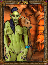 2008 breasts ear_piercing eye_patch eyewear female humanoid nude orc piercing pussy scar shina_(artist) solo tusks video_games warcraft world_of_warcraft