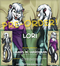 2015 advertisement anthro ass bed_sheet claws clothed clothing dakimakura_design distracting_watermark english_text female green_eyes grey_nose hair half-dressed james_m_hardiman looking_at_viewer lori lying mammal on_back open_mouth shirt skunk smile solo teeth text tongue tongue_out watermark white_hair