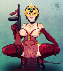 ada_wong black_hair breasts capcom choker dress elbow_gloves female gloves high_heels large_breasts mask my_pet_tentacle_monster navel nipple_piercing nipples piercing pussy resident_evil see-through short_hair solo squatting submachinegun thighhighs weapon