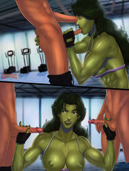 2boys breasts fellatio female fingerless_gloves gloves green_eyes green_hair green_skin gym handjob large_breasts long_hair male marvel nipples oral she-hulk sunsetriders7 tank_top