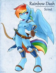 2015 ambris anthro anthrofied blue_fur bow_(weapon) breasts equine female friendship_is_magic fur hair mammal melee_weapon multicolored_hair my_little_pony navel nipples pegasus pink_eyes pussy rainbow_dash_(mlp) rainbow_hair ranged_weapon smile solo sword weapon wings