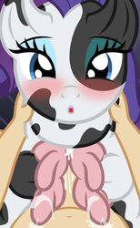 2015 absurd_res badumsquish blue_eyes blush bovine cattle cum duo eyeshadow faceless_male female feral first_person_view friendship_is_magic hair half-closed_eyes hi_res human interspecies lactating looking_at_viewer makeup male male/female mammal milk my_little_pony navel nude open_mouth penis rarity_(mlp) teats udderfuck udders zoophilia