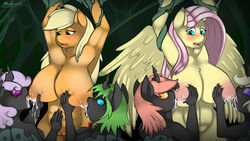 2015 anthro applejack_(mlp) areola big_breasts blush breastfeeding breasts changeling earth_pony equine erect_nipples female fluttershy_(mlp) friendship_is_magic horse huge_breasts lactating malamol mammal milk my_little_pony nipples nude pegasus pony pussy wings