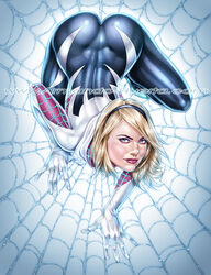 armando_huerta ass big_ass blonde_hair blue_eyes bodysuit clothes clothing costume dat_ass emma_stone female hood looking_at_viewer marvel marvel_comics spider-man_(series) spider_gwen spider_web