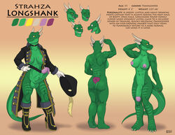 boots claws dickgirl dragon emotions erection expressions feathers flaccid futanari glove gloves green_skin hat head_grab hi_res highres horn horns huge_cock humanoid_penis hyper_penis iggi intersex lizard model_sheet muscular pirate pirate_captain ref ref_sheet reference reference_sheet ring rings scalie scar shemale standing strahza_longshank trap