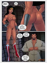 armpits arms_up ass bare_shoulders beard belly big_ass black_hair blue_eyes boots breasts chained clothes clothing comic costume dat_ass dc dc_comics dcau dungeon earrings english_text female hairy large_breasts leotard long_hair male muscular navel nipples panel short_hair sixpack standing sunsetriders7 text tiara vandal_savage vandalized wonder_woman
