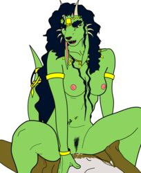 abun ancient animal_humanoid anthro bracelet breasts canine cowgirl cowgirl_position curly_hair digital_media_(artwork) exotic hair humanoid jewelry jewels kingdom_of_abun mammal nakti on_top planet_nakti pussy_juice queen_kaliendra riding saliva sex small_breasts tokaya tribal vpn