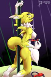 2015 arashidrgn ass big_breasts bikini breasts chest_tuft claws clothing dancing digimon female fur mammal nipples nude open_mouth pole pole_dancing renamon smile solo stripper stripper_pole swimsuit tongue tuft underwear white_fur yellow_fur