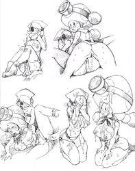 2girls after_sex ass belt blush breasts cum_in_pussy cum_on_body embarrassed from_behind garter_straps large_breast mario_(series) mask monochrome mushroom nintendo penis pussy pussy_juice rule_63 sex shy_girl shy_guy shygirl spread_legs super_mario_bros. sweat take_your_pick thighhighs thighs toad toadette