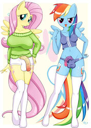 2015 anthro anthrofied big_breasts big_penis blue_skin blush breasts bulge clothing cutie_mark dickgirl equine feathers flaccid fluttershy_(mlp) friendship_is_magic green_eyes hair horse intersex legwear long_hair looking_at_viewer looking_away mammal multicolored_hair my_little_pony navel panties pegasus penis pink_eyes pink_hair pony rainbow_dash_(mlp) rainbow_hair shirt shorts smile standing stockings sweater underwear vein wings ya-ya-tan yellow_skin