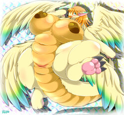 abstract_background anthro anthrofied anus big_breasts blush breasts chubby claws digitigrade dragon female flammie fur furred_dragon hair horizontal_slit huge_breasts mana_(series) multiple_wings open_mouth orange_hair pawpads pussy secret_of_mana simple_background solo teal_eyes video_games wide_hips wings ymbk