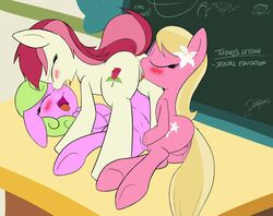ass blush chalkboard daisy_(mlp) dashboom english_text female friendship_is_magic group group_sex lily_(mlp) my_little_pony non-anthro public pussy pussy_juice rose_(mlp) school sex sex_education text threesome yuri