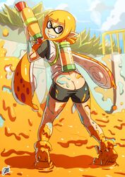 ass back_view bike_shorts butt_crack clothed clouds domino_mask grin highres inkling looking_back mask nintendo onichan-xd outdoors paint paintball_gun pink_eyes pointy_ears prehensile_hair shorts shorts_pull sky solo splatoon standing tattoo tiptoes