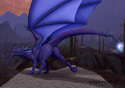claws desperiona dragon female feral horn membranous_wings open_mouth presenting pussy saliva solo uselessboy video_games warcraft wings world_of_warcraft
