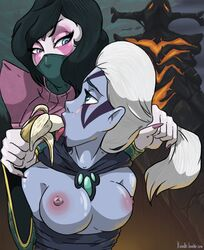 bannana black_hair breasts dota dota_2 drow_ranger face_tattoo nipples scarf templar_assassin traxex white_hair xinaelle yuri