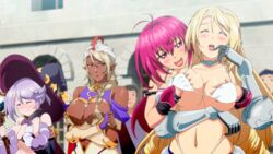 4girls animated animated bikini_warriors blonde_hair blush bra breasts breasts_grab closed_eyes dark_elf_(bikini_warriors) dark_skin fighter_(bikini_warriors) hat large_breasts lipstick long_hair mage_(bikini_warriors) multiple_girls open_mouth paladin_(bikini_warriors) pointy_ears red_eyes red_hair smile standing white_bra yuri
