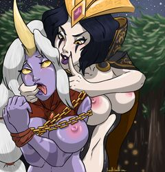 black_hair breasts cape chains horn le_blanc league_of_legends soraka tied tree white_hair xinaelle yuri