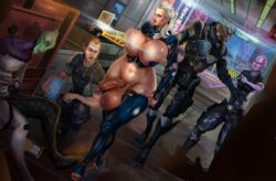alien alley armor asari ato21 blue_eyes bodysuit breasts bursting_breasts citadel curvy dangling_testicles exhibitionism futanari high_heels huge_balls huge_breasts huge_testicles human intersex large_penis long_hair mass_effect nail_polish partially_clothed penis salarian shiny_skin short_hair skimpy testicles thighhighs turian uncensored uniform veiny_penis white_hair wide_hips