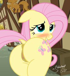 2015 an-tonio anus ass blush cute cutie_mark dock equine female feral fluttershy_(mlp) friendship_is_magic hair horse looking_back mammal my_little_pony pink_hair pony pussy pussy_juice shutterflyeqd smile solo