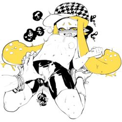 baseball_cap bike_shorts blonde_hair blush daunii_(splatoon) fangs female fingering fingering_through_clothes hat heart inkling long_hair navel nipples nose_blush open_mouth pointy_ears saliva shoes simple_background small_breasts sneakers solo_focus splatoon spyke_(splatoon) tentacle_hair through_clothes topless white_background yellow_eyes yousuke_(yosk)