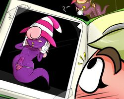 ? big_lips blush clothing girly gloves goomba goombella hair hair_over_eyes hat lips male nintendo paper_mario penis pink_hair shadow_siren super_mario_bros. vivian wide_hips witch_hat yellow_lips