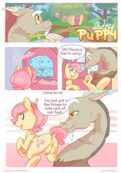anus ass balls blue_eyes comic cutie_mark dialogue discord_(mlp) draconequus english_text equine feral fluttershy_(mlp) friendship_is_magic hair kittenmod leering male mammal my_little_pony pegasus pink_hair rule_63 text wings