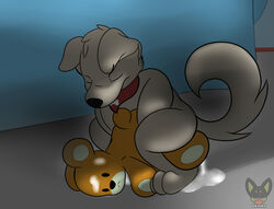 anthro canine canine dexial duo family_guy male male/male mammal new_brian plushie plushophilia rupert_(family_guy)