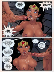 1boy 1girl bare_shoulders black_hair blue_eyes breasts cock comic cum cum_in_mouth cumshot dc dc_comics dcau diana_prince dungeon earrings english_text facial female hairy kneeling large_breasts long_hair male muscular nipples page panel penis standing sunsetriders7 text tiara vandal_savage vandaled wonder_woman